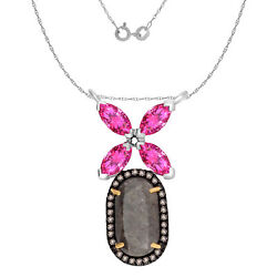 6.02 Ct Ruby Rough And Brown Diamond 18k Gold And Silver Flower Pendant 18 Chain