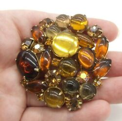 2 1/8 Vintage Weiss Amber Glass Cabochons/ab Rhinestones Round Domed Brooch/pin
