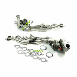 T66 Two Turbos Ar70 Ar.68+ Exhaust Header+3 Adaptor For Chevy Ls1 Ls2 Lsx Gm V8