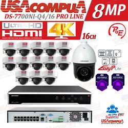 Hikvision Nvr Kit 16ch Ip Security System / 4tb Hdd / 4mp 13 Cam And 1 Ptz