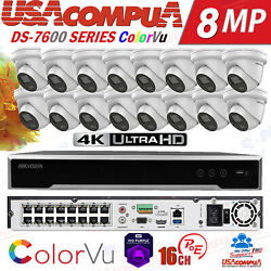 Hikvision Colorvu Security Camera System 2.8mm 4mp 16ch Ds-2cd2347g1-lu W/audio