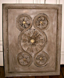 French Hand Carved Breton Wood Cabinet Door Rosettes Salvage 15.7 X 19.7