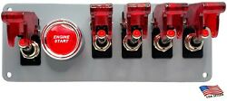 12v Gray Coated Switch Panel/5red Switches And Covers/red Push Start Button