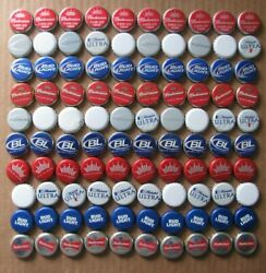 100 Red White Blue Bud Bud Light Michelob Ultra Most Obsolete Beer Bottle Caps