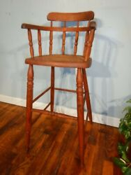 Mid 19th Century Child's Cane Seat High Chair Bent Arm Ash And Oak