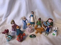 Vintage Mixed Lot Of 13 Disney Pvc Figures Toys Cake Toppers Characters