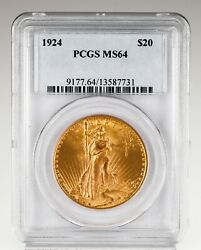 1924 20 St. Gaudens Gold Double Eagle Coin Graded By Pcgs As Ms-64