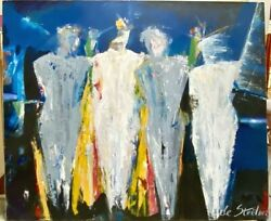 Huge Signed Blue Abstract Expressionism Original Oil Painting Figures Men Women