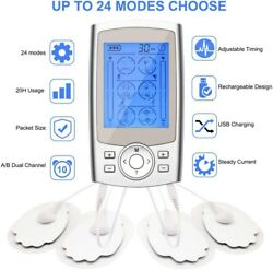 Tens Unit Rechargeable Muscle Stimulator Massager Pain-relief Therapy 24 Modes
