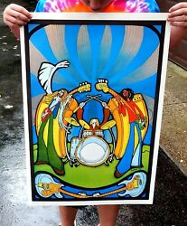 Vintage Hippy Poster 1970and039s Rock N Roll Band Original Nos