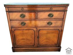 Drexel Sideboard Buffet Dry Bar With Pull Out Serving Tray And Glass Top
