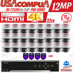 Hikvision 32ch 12mp Security System Dome Vandal Proof 4 Megapixel Hdd Option