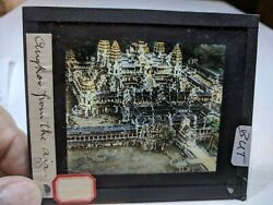 Colored Glass Magic Lantern Slide But Indo China Cambodia Angkor From The Air