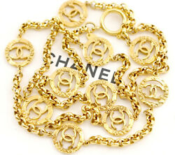 Cc Logos Coin Chain Long Necklace Gold Tone Vintage W478