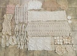 Antique Vintage Crochet Tatted Lace Doilies Table Runners Shirt Collars Lot