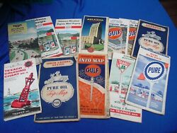 12 Vintage Gas Station Fold Out Maps1950's And 1960'spure, Triangle, Enco