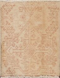 Vintage Geometric Traditional Oriental Area Rug Hand-knotted Wool Square 2x2 Ft