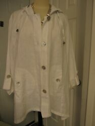 New W Tag Sigrid Olsen Sz Large White Jacket 100 Linen W Hood Four Buttons