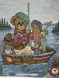 Vtg Tapestry Boyds Bears Teddy Fishing Father Son Boat Art 26x36 ties that bind