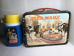 Vintage 1977 Star Wars Metal Lunch Box With Thermos