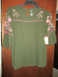 Blouse Women's Size L 3/4 Sleeves Green