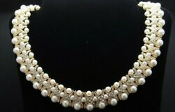 Camrose And Kross Jacqueline Kennedy Pearl Crystal 24k Gp Bib Necklace New In Case