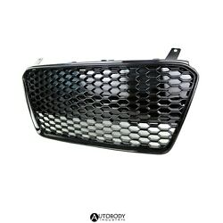 Fit For 13-15 R8 Mk1 Car Grille Grill Insert Full Honeycomb Front Glossy Black