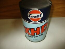 Vintage Gulf Canada Xhd Motor Oil Can Tin 1 Litre Empty Cardboard Composite