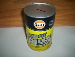 Vintage Gulf Canada Super Plus Ht Motor Oil Can Tin Coin Bank 1 Litre Empty