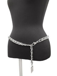 Belt Sports Line Black Rubber And Silver Coco Mark Plate Chain 062423