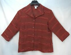 Size 1x Coldwater Creek Striped Burgundy Fitted Button Blouse