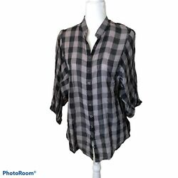 Bebe Blouse 3/4 Sleeves Plaid Black/gray Large Button Down