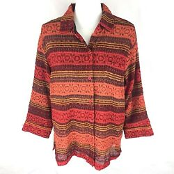 Coldwater Creek Womens Jacket Xl Sequin Striped Orange 3/4 Sleeve Fall Button