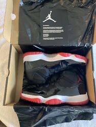 New Nike Air Jordan 11 Bred Size 12 Black And Red Patent Leather Basketball