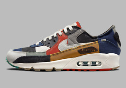 Nike Womenand039s Air Max 90 Qs Shoes Legacy Scrap Navy Multi Color Dj4878-400 New