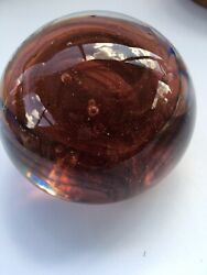 Art Glass Paperweight Signed Tom Sinclair Studio Glass Vintage Rare Color