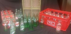 Coca-cola, Dr Pepper And Pop Shoppe Pop Bottles + Pepsi And P Shoppe Crates 54 Items