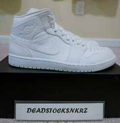 Nike Air Jordan 1 Mid Triple White 554724 130 Gs And Menand039s Sizes