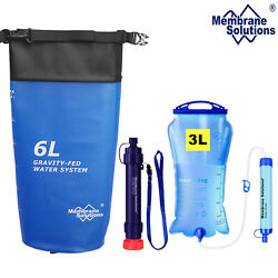 Gravity Water Filter Straw Bag Purifier Survival Camping Drinking Emergency Gear