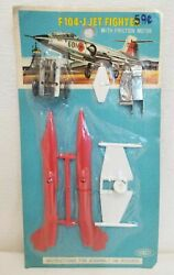 Rare Vintage Sonsco F104-j Jet Fighter Model Airplane With Friction Motor Red