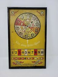Vintage 1930's Lindstrom Tool And Toy 6 Day Bike Race Tin Litho Wheel Game Cycling