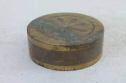 Antique Original Brass Copper Work Holy Religious Temple Use Bajot / Box Nh2375