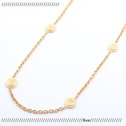 Necklace Auth Coco Mark Chain Logo Vintage Rare Medal Coin Long Gold F/s