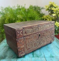 Antique Wooden Beautiful Brass Inlay Work On Lid Indian Jewelry Box With Mirror