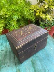 Wooden Handcrafted Antique Inlay Brass Pattern Jewelry Treasure Box With Lock