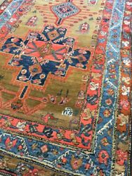 Antique Old Used Handmade He Riz Wool Rug Runner Carpet,chic.size11 By3.6 Ft