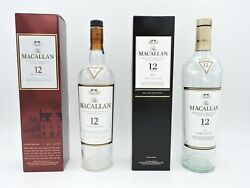 The Macallan 12 Year Old And Sherry Oak Cask Scotch Whisky Empty Bottles And Box