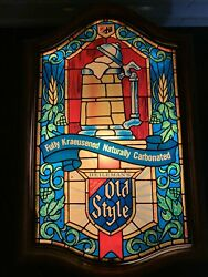 """Rare 18""""x12"""" Old Style Beer Lighted Sign Faux Stained Glass Vintage Heilemans"""
