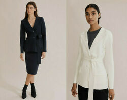 Nwt Country Road Longline Belted Compact Knit Jacket Navy White Xs S M L Xl