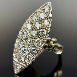Antique Diamond Navette Cluster Yellow Gold Ring 1.75 Ctw Size 6.5